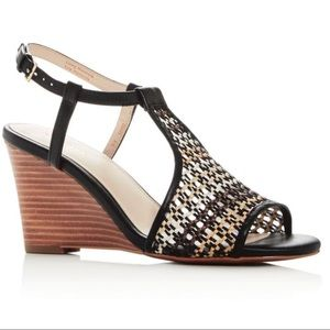 New Cole Haan Maddie Open Toe Wedge, Black Woven 8